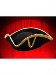 LARGE BLACK THREE-CORNERED-TRICORN HAT WITH GOLD BRAID TRIM