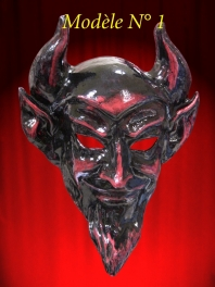 MASQUE DE VENISE DIABLE ROUGE PAPIER MACHE