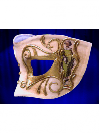 COLOMBINA MASK FROM VENICE WITH DECORATION COMEDIA