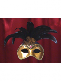 MASKS VENICE COLOMBINA TOUPET GOLD