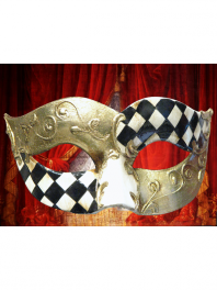 MASQUE COLOMBINE (LOUP) VENISE DECOREE DAMIER - QUADRI
