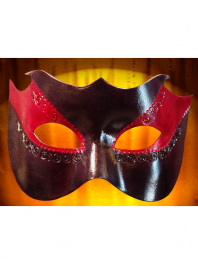 LEATHER MASKS FROM VENICE COLOMBINA RED AND BLACK WITH POINTS