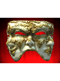 MASKS VENICE 3 FACES MUSIK PAPER MACHE - COMEDY-TRAGEDY-NEUTRAL