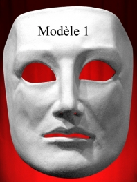FACE 3/4 MASK WHITE PAPER MACHE for MEN