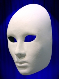 FACE MASK COMPLETE WHITE PAPER MACHE for WOMAN