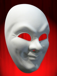 WHITE COMEDIA MASK FOR MAN'S FACE (JOKER)