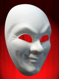 WHITE COMEDIA MASK FOR MAN'S FACE (JOKER)
