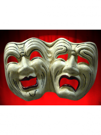 TWO WELDED MASKS TRAGEDY COMEDY