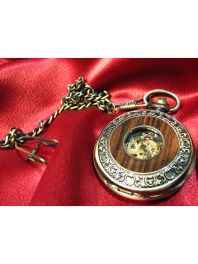 MECANICAL POCKET WATCH WOOD STYLE