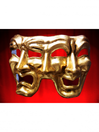 GOLDEN MASKS VENICE 3 FACES COMEDY-TRAGEDY-NEUTRAL