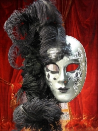VENETIAN MASK WITH FEATHERS FIORE