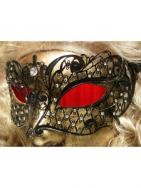 "VENETIAN FILIGREE COLOMBINA MASK IN METAL ""BRILLINA"" With rhinestones"