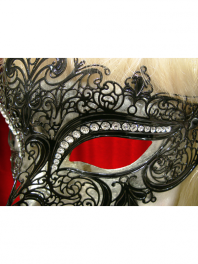 "VENETIAN FILIGREE MASK COLOMBINA IN METAL ""GIGLIETTO"" With rhinestones"