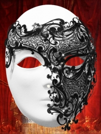"BIG METALLIC FILIGREE MASK ""GHOST OF THE OPERA"""