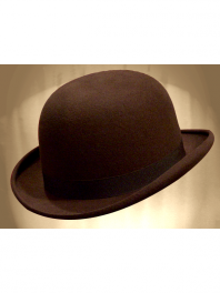 REAL BOWLER DERBY HAT BROWN ROBUSTA