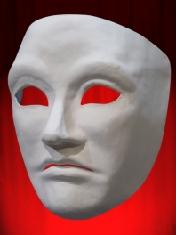 NEUTRAL WHITE 3/4 FACE MASK UNISEX from PAPER MACHE - NOSE and MOUTH OPEN