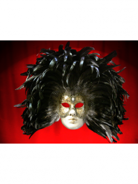 MASKS VENICE FACE WITH COLOMBINE CHISEL AND FEATHERS