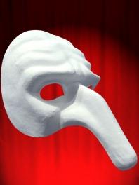 Máscara COMEDIA carton piedra PULCINELLA BLANCO