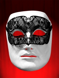 "VENETIAN FILIGREED COLOMBINA MASK IN METAL ""SMOKING"""