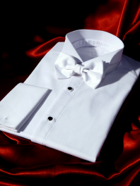 WEDDING SHIRT 1900 with COTTON PIQUE BIB and FRENCH CUFFS - DETACHABLE WING COLLAR