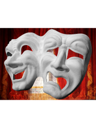 TWO WHITE AND WELDED MASKS TRAGEDY COMEDY FOR PAINTING