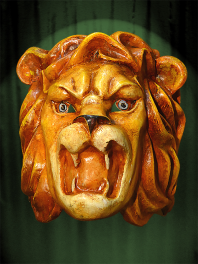 MASK BIG HEAD of LION, MADE IN PAPER MACHE (CHEWED)