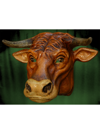 BIG MASK BULL IN PAPER MACHE