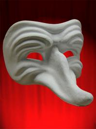 Máscara blanca Comedia en papel mache para ser pintado - Zanni Arrugado