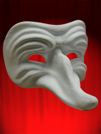White mask Comedia in paper mache to be painted - Wrinkled Zanni