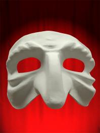 Máscara blanca Comedia en papel mache para ser pintado - pulcinella Arrugado