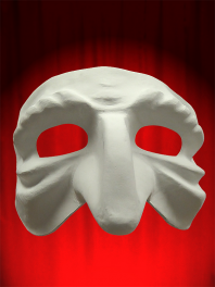 White mask Comedia in paper mache to be painted - Wrinkled pulcinella