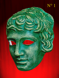 MYTHOLOGICAL MASK OF the GREEK THEATER OF YOUNG MAN or EPHEBE